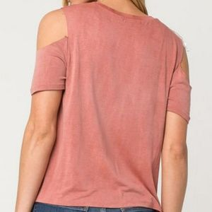 White Fawn Tops - WHITE FAWN Tilly's Cold Shoulder Graphic Tee